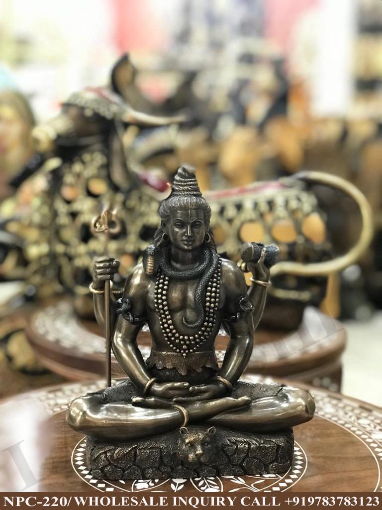 Lord Shiva Meditation Sitting Pose Statue, Religious idol Shiva