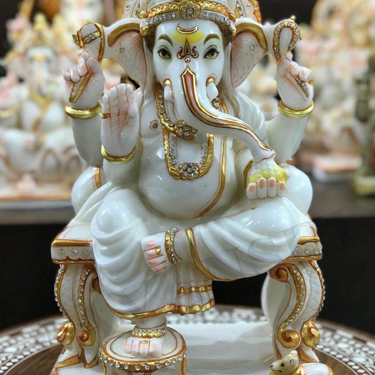 Marble Sitting Ganesh Decorative Showpiece Lavanshi Handicrafts