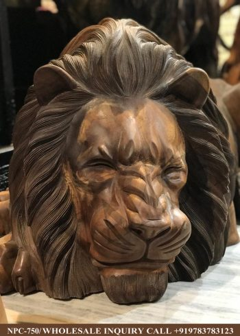 Wooden statues online,Wooden statues manufacturers, Wooden statues wholesale, Wooden idols near me, Corporate Gifts,Lion ,festive décor,statue manufacures