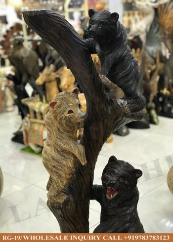 Wooden statues online,Wooden statues manufacturers, Wooden statues wholesale, Wooden idols near me, Corporate Gifts,Bear,festive décor,statue manufacures